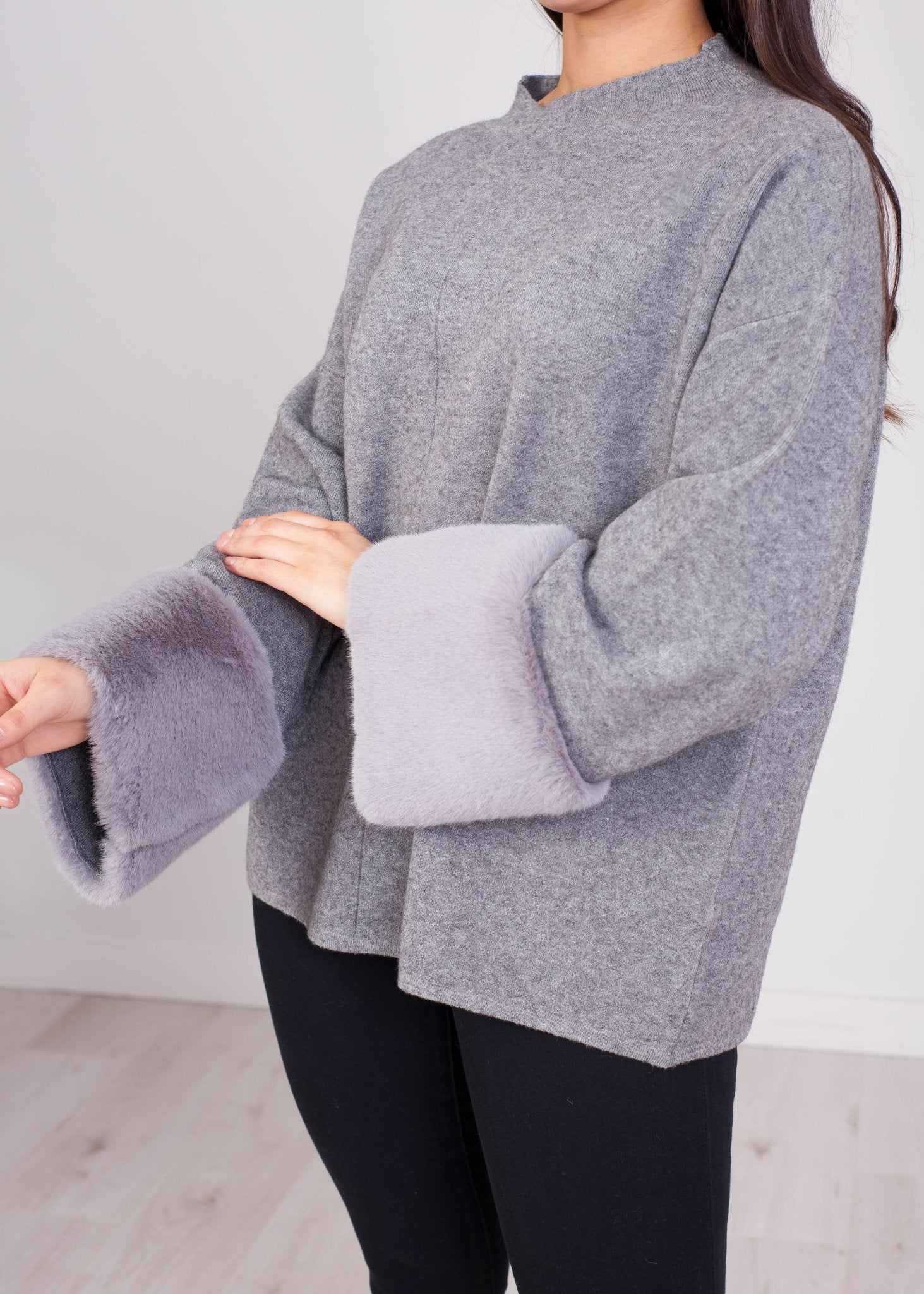 Penny Jumper With Faux Fur Cuff In Grey - The Walk in Wardrobe