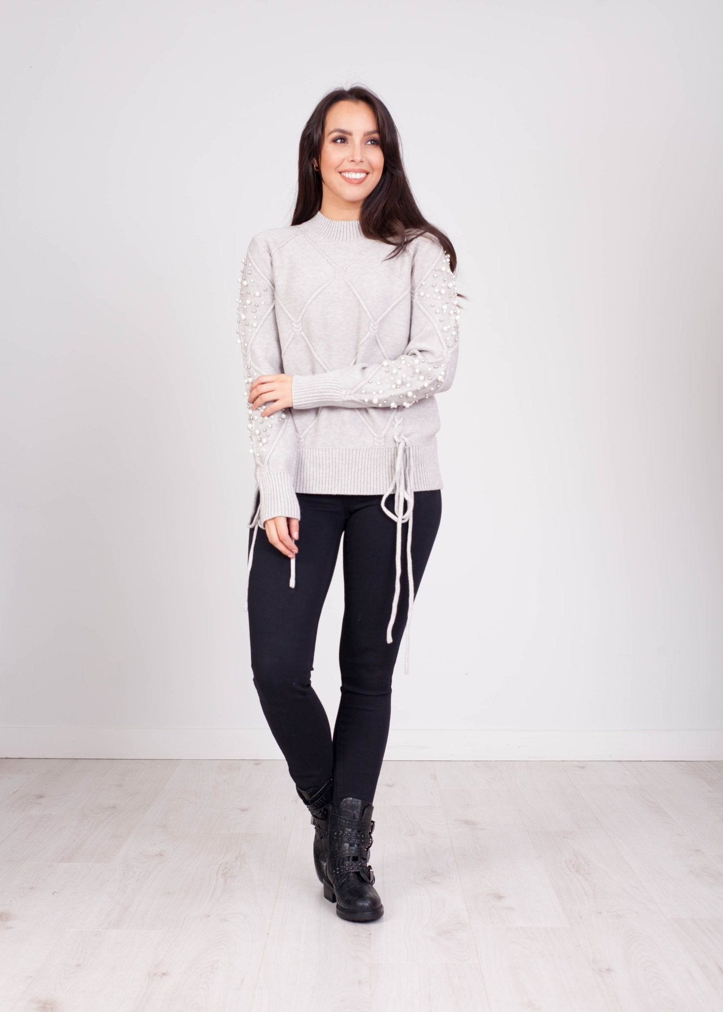 Penny Pearl Sleeve Jumper In Grey - The Walk in Wardrobe