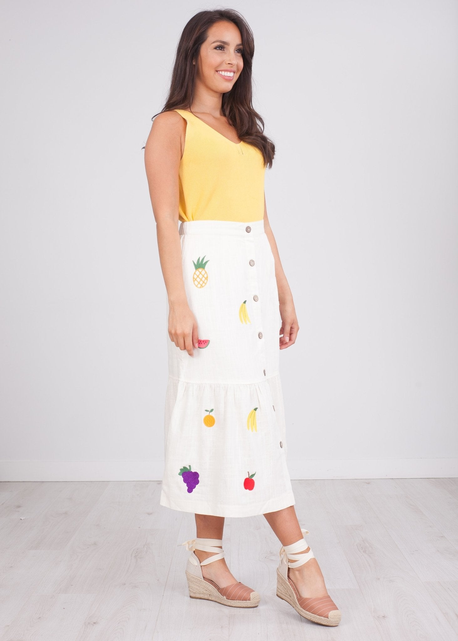 Pippa Fruit Embroidered Skirt - The Walk in Wardrobe