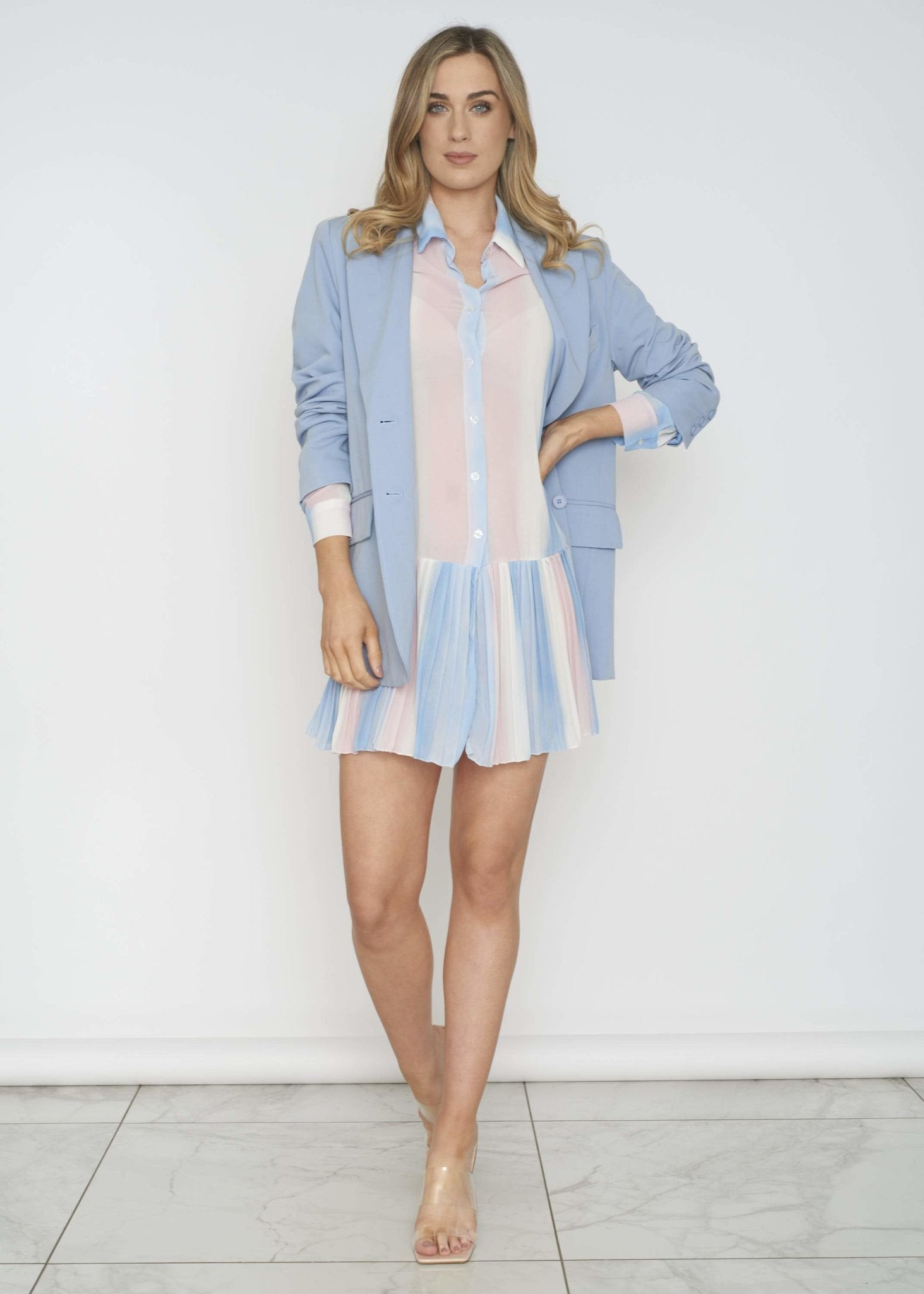 Polly Pleated Shirt Dress In Blue Mix - The Walk in Wardrobe