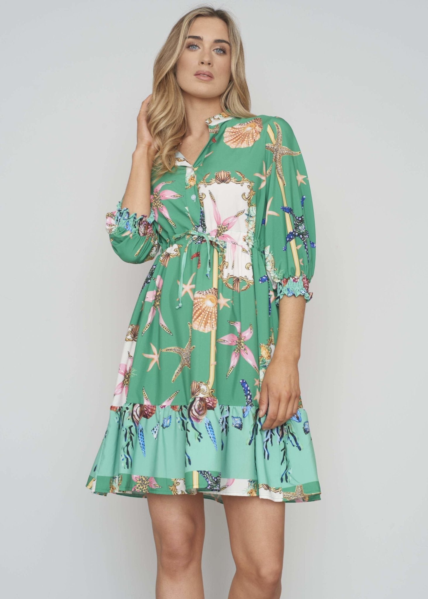 Polly Printed Tie Waist Dress In Green - The Walk in Wardrobe