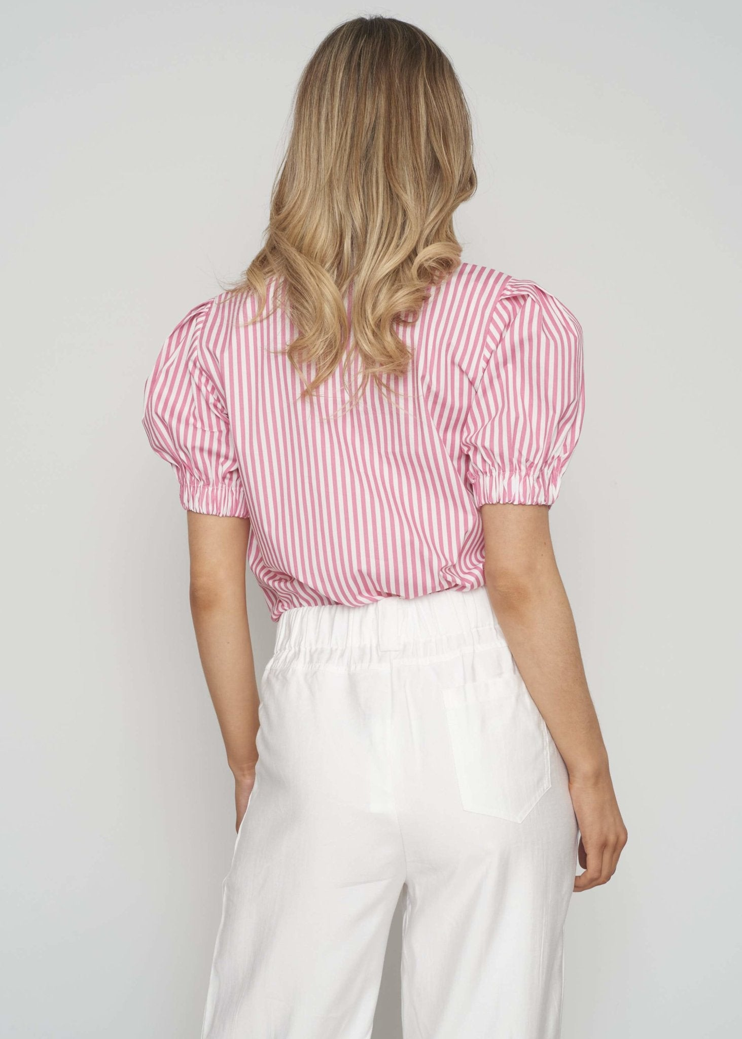 Polly Stripe Blouse In Pink - The Walk in Wardrobe