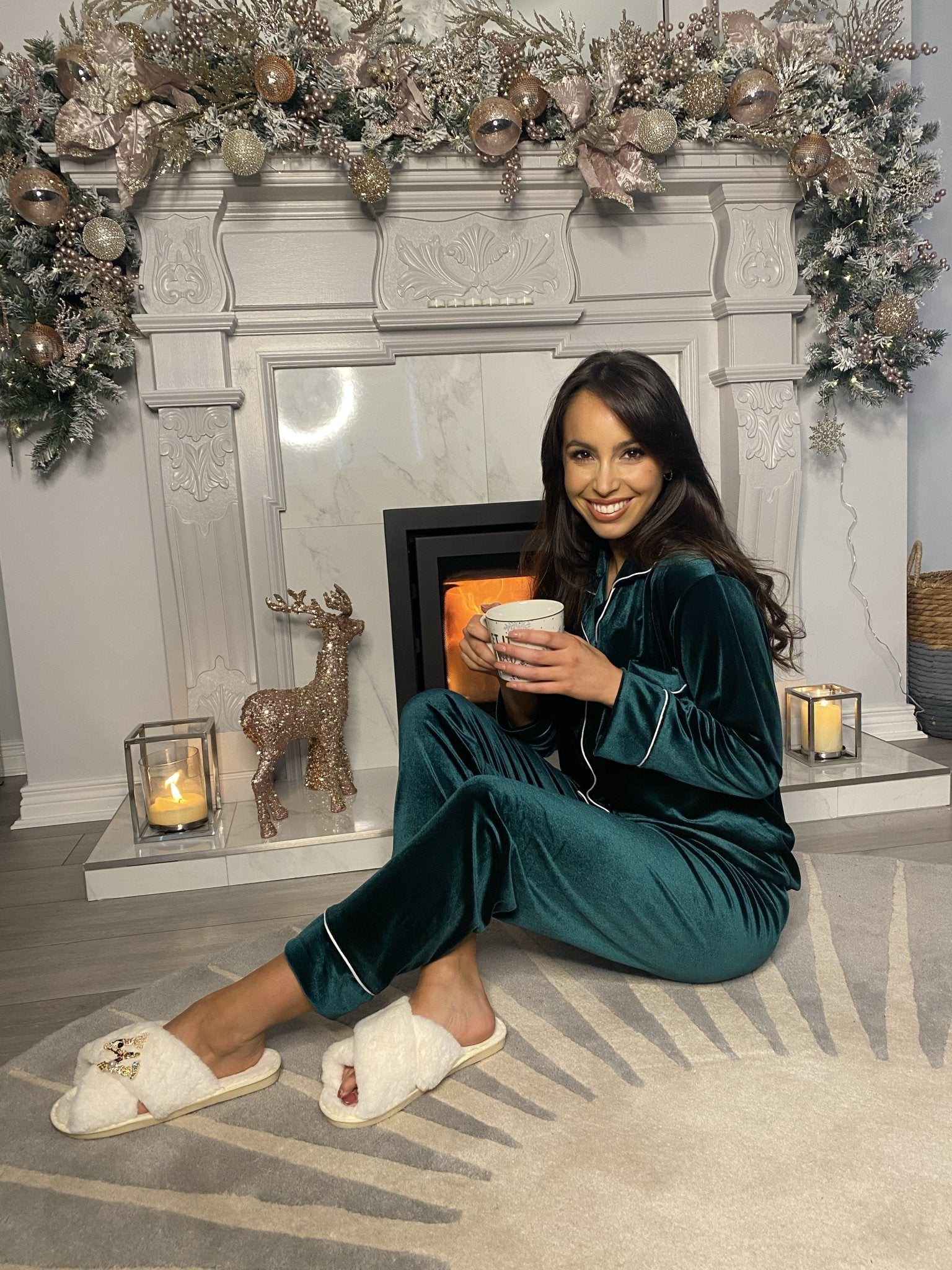 *Pre-Order* Holly Luxury Velvet Pyjamas In Green - The Walk in Wardrobe