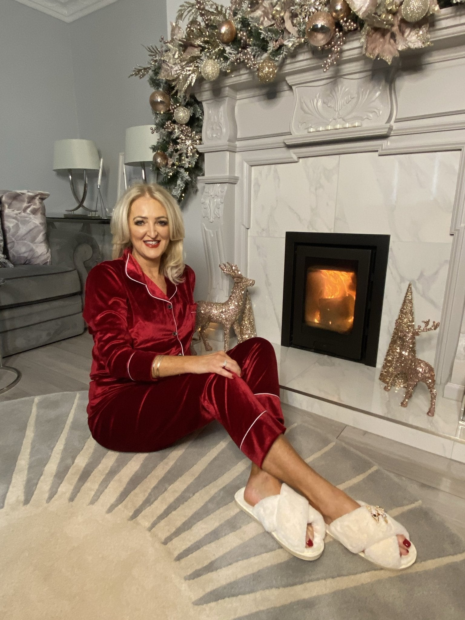 *Pre-Order* Holly Luxury Velvet Pyjamas In Wine - The Walk in Wardrobe