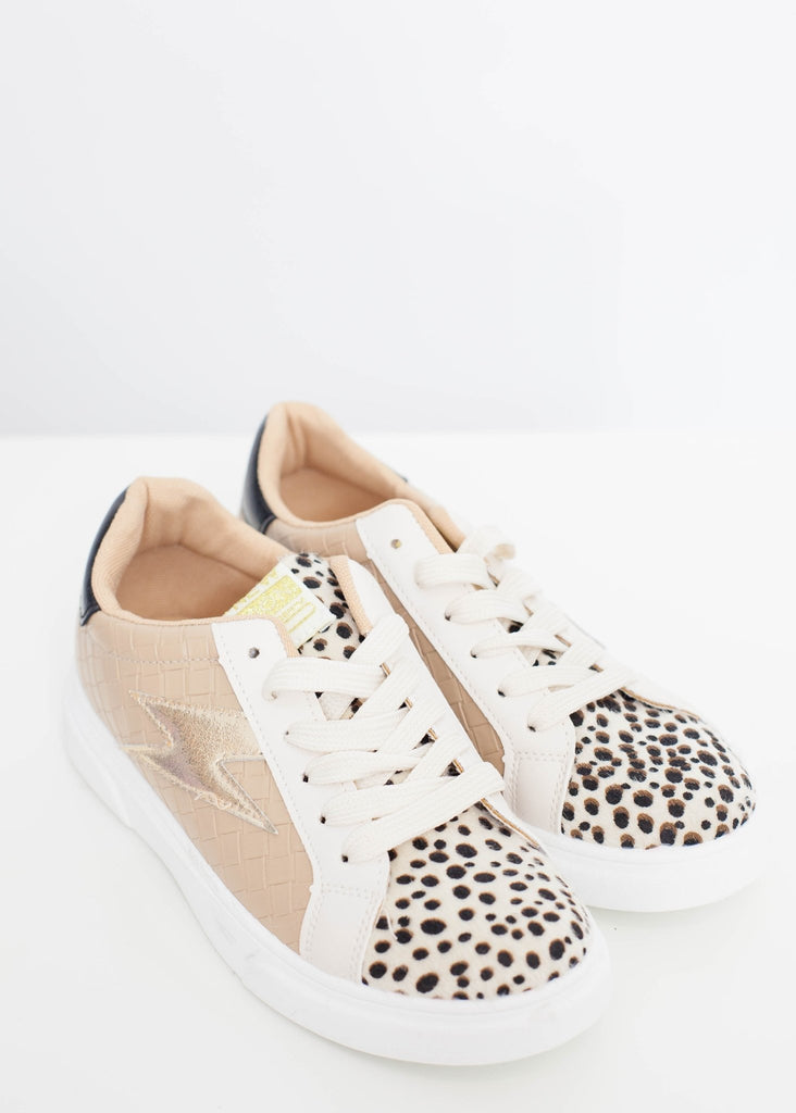 Priya Animal Print Trainer In Neutral - The Walk in Wardrobe