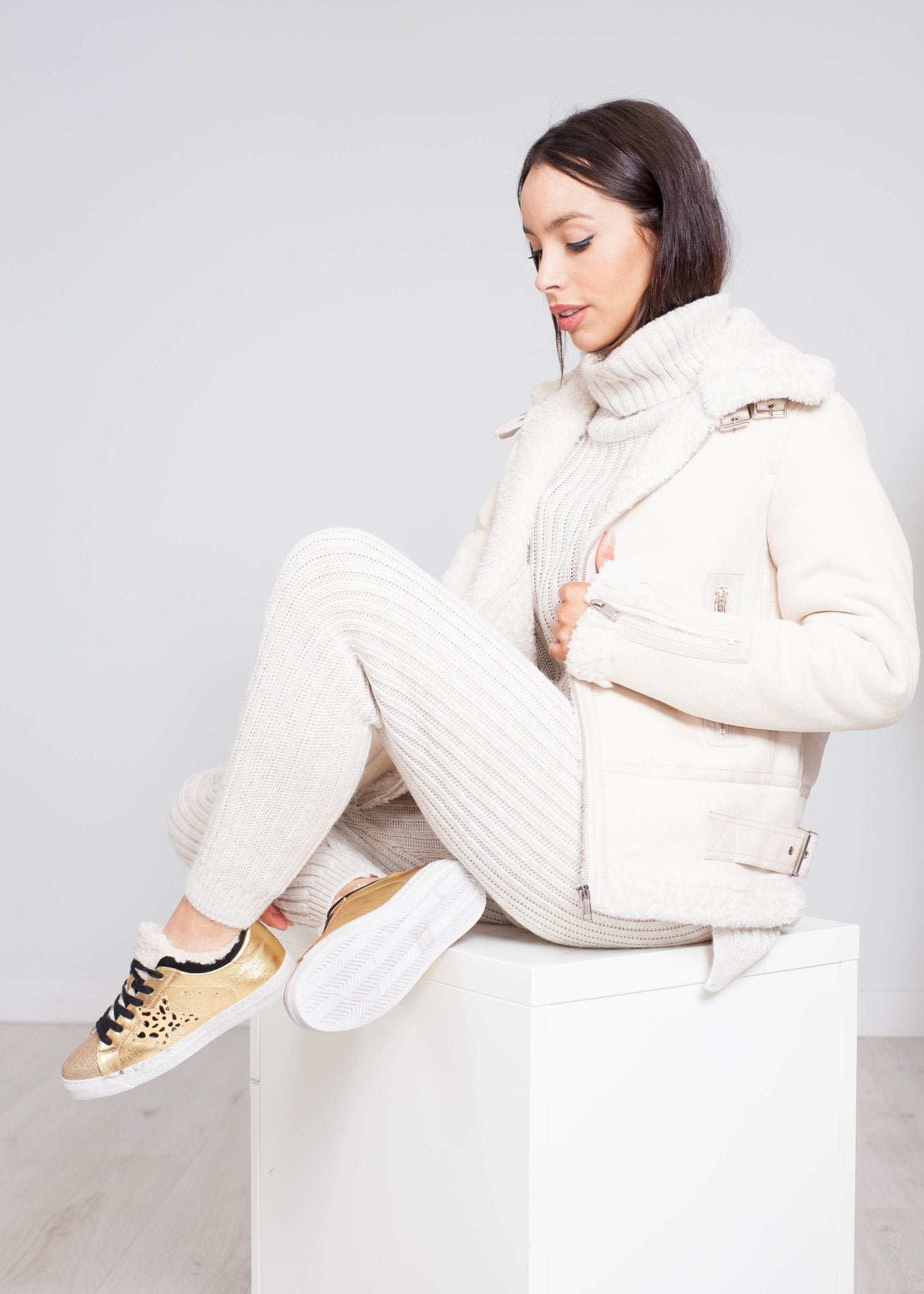 Priya Aviator Jacket In Cream - The Walk in Wardrobe
