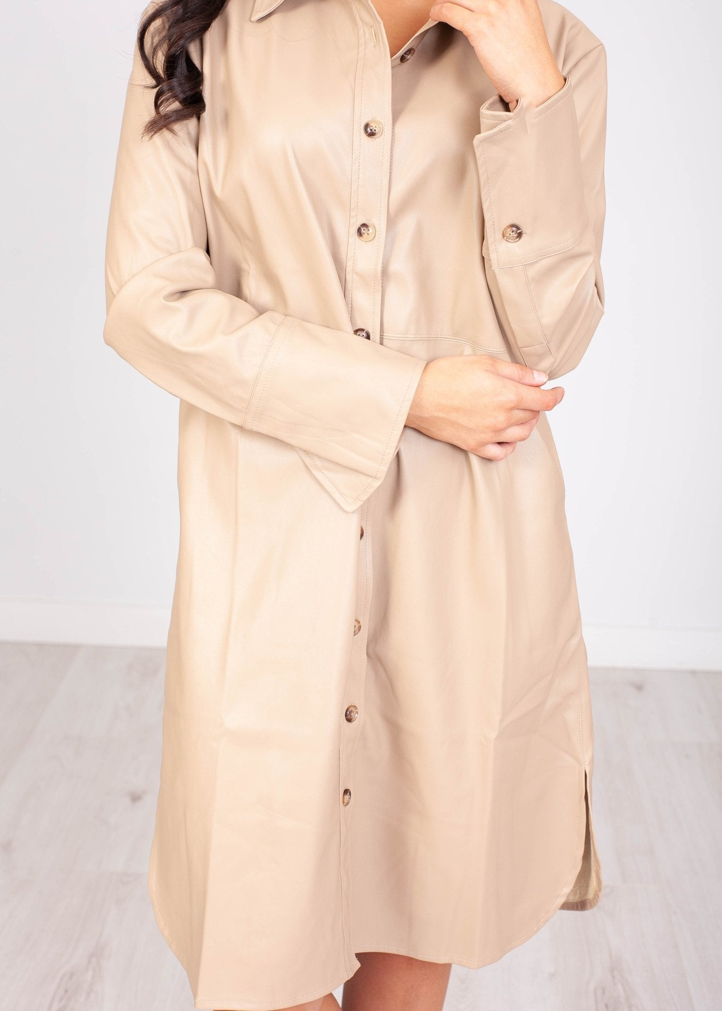 Priya Beige Leather Shirt Dress - The Walk in Wardrobe