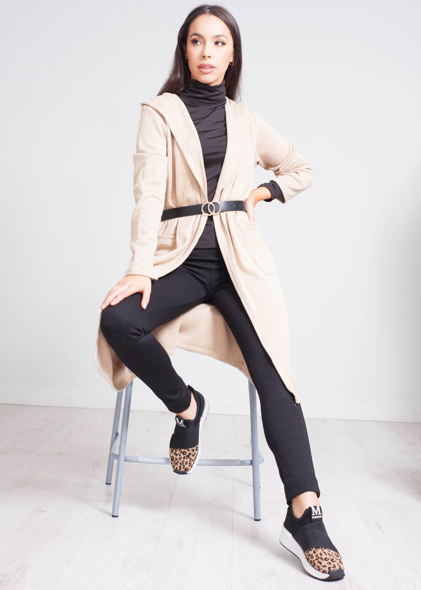 Priya Belted Cardigan In Caramel - The Walk in Wardrobe