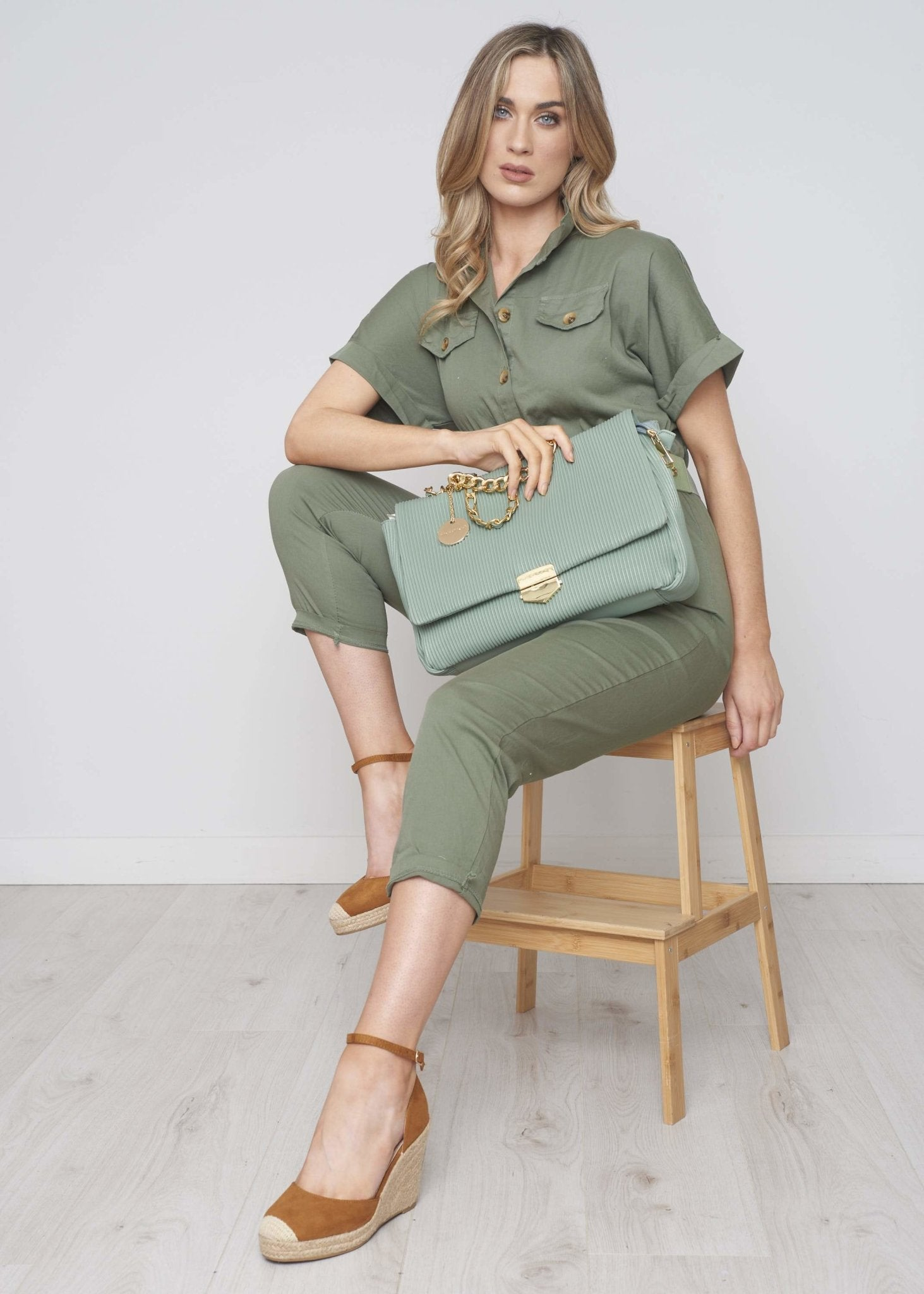 Priya Belted Jumpsuit In Khaki - The Walk in Wardrobe