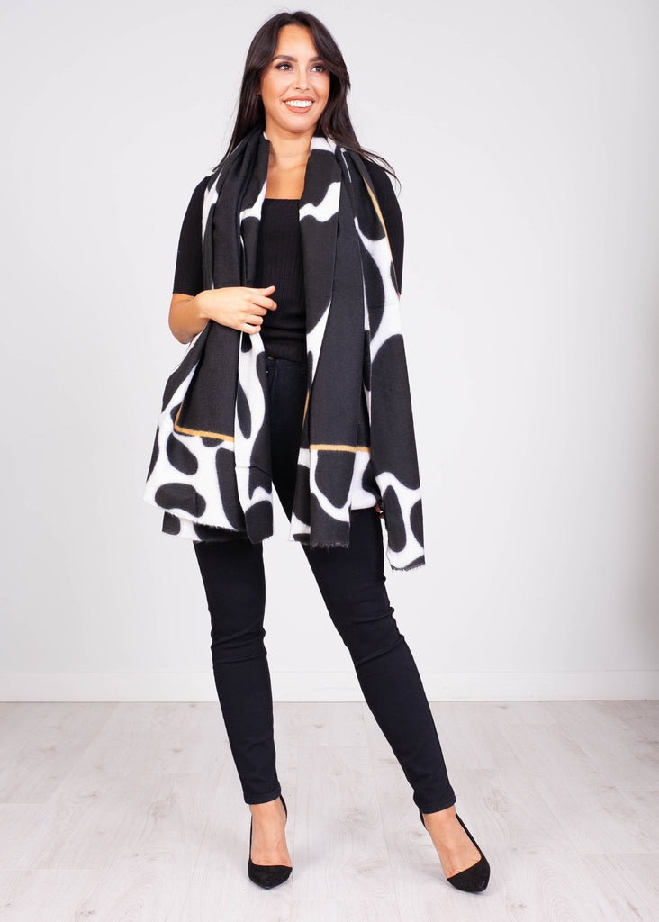 Priya Black & Cream Print Trim Scarf - The Walk in Wardrobe