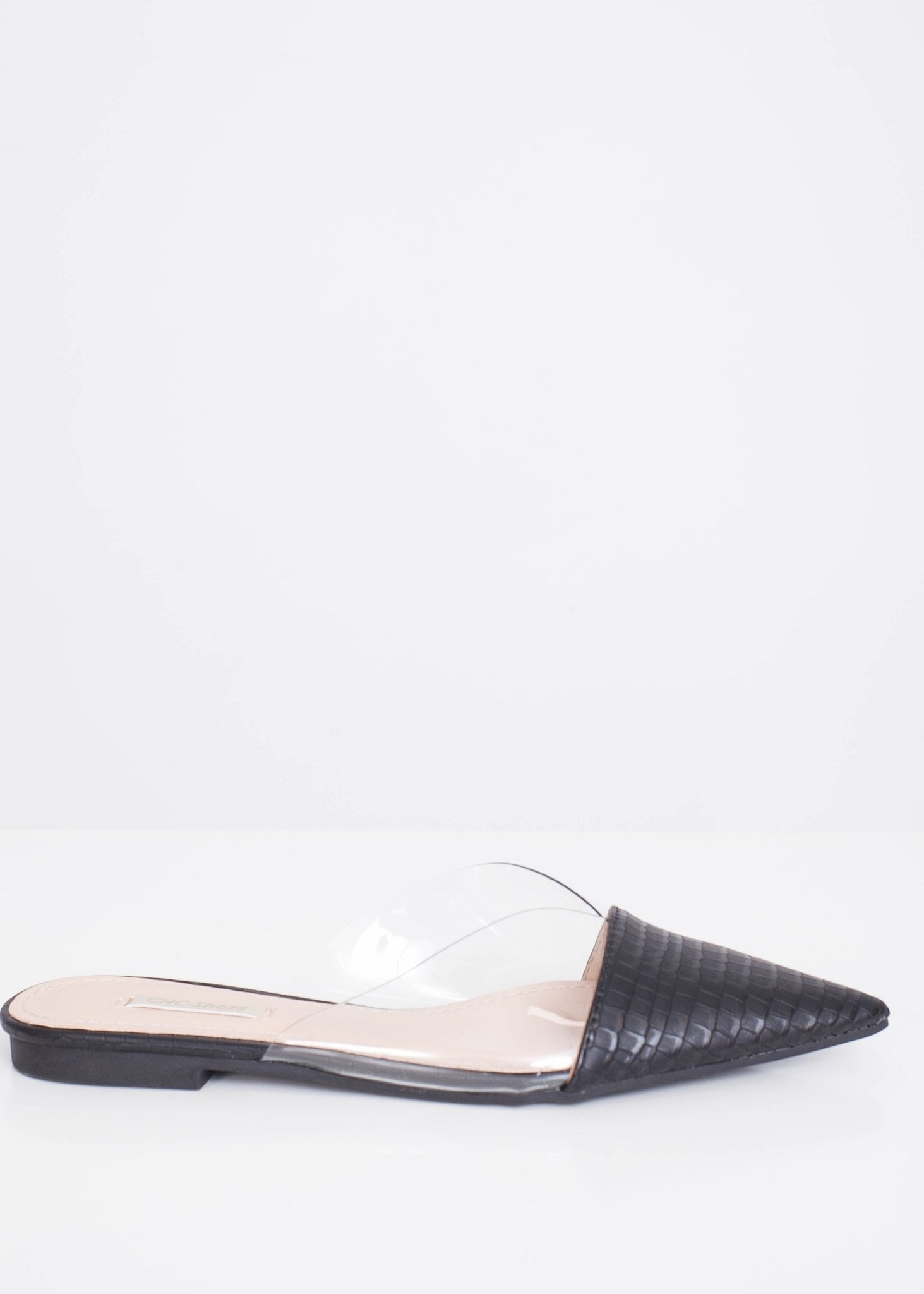 Priya Black Croc Mules - The Walk in Wardrobe