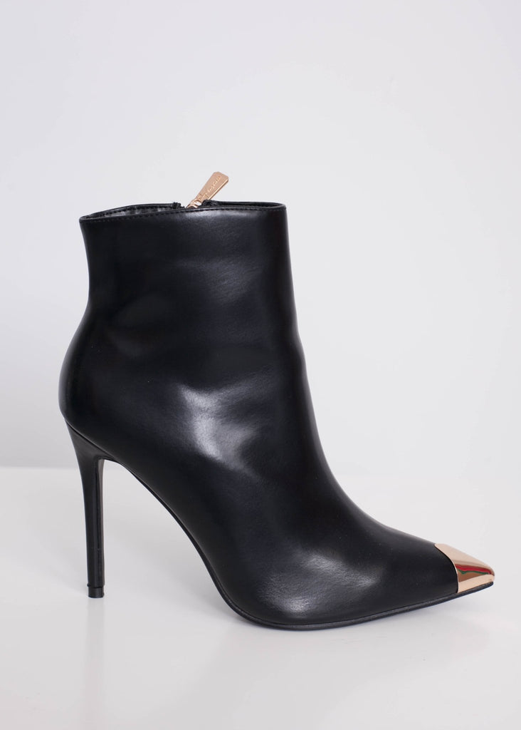 Priya Black & Gold Ankle Boots - The Walk in Wardrobe