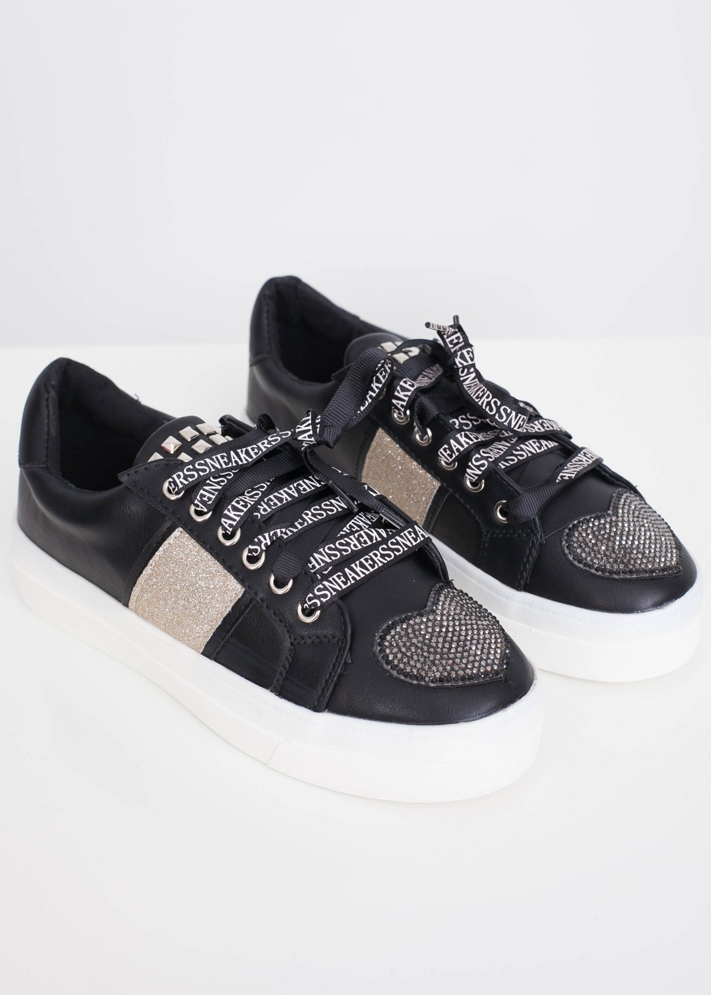 Priya Black Heart Embellished Trainers - The Walk in Wardrobe