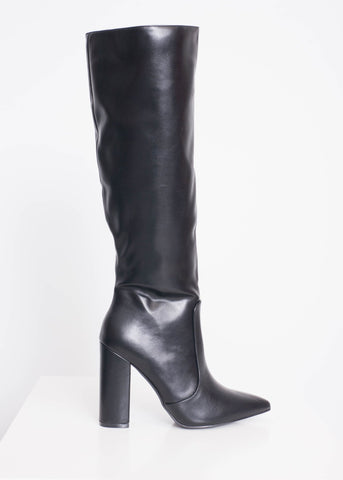 Priya Black Knee High Boot - The Walk in Wardrobe