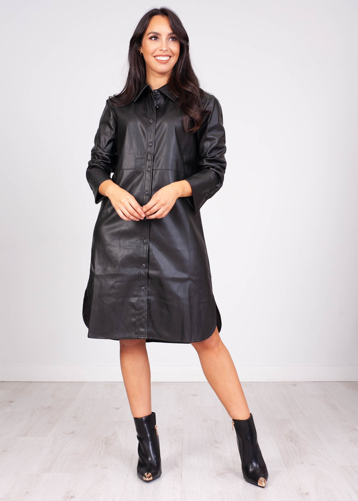 Priya Black Leather Shirt Dress - The Walk in Wardrobe