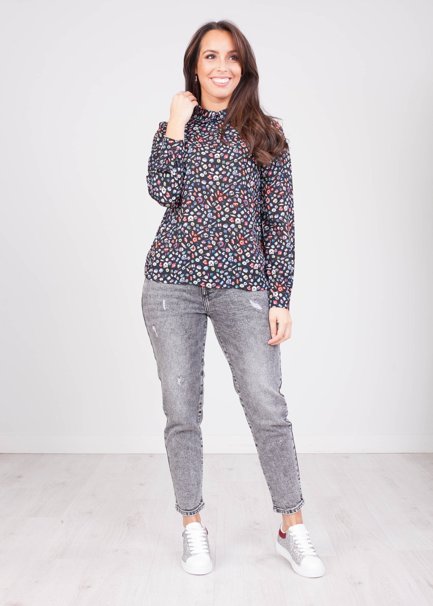 Priya Black Printed Blouse - The Walk in Wardrobe