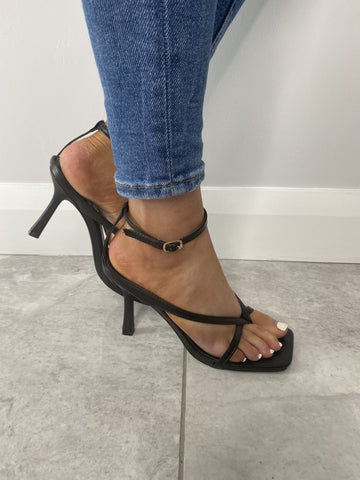 Priya Black Square Toe Heel - The Walk in Wardrobe