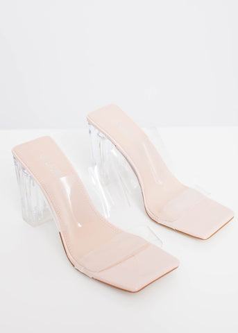 Priya Block Heel Mules In Neutral - The Walk in Wardrobe