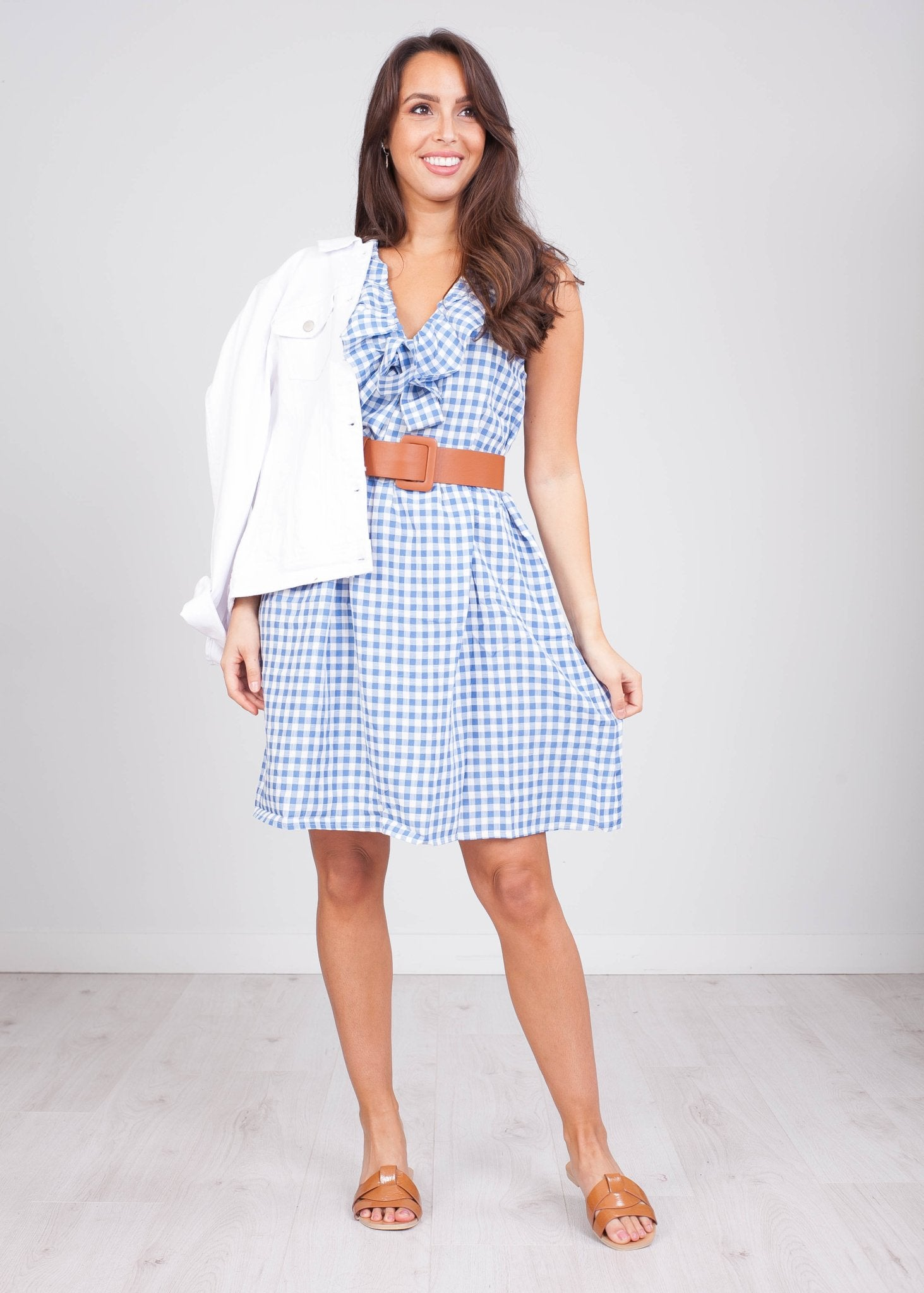 Priya Blue Gingham Bow Mini Dress - The Walk in Wardrobe