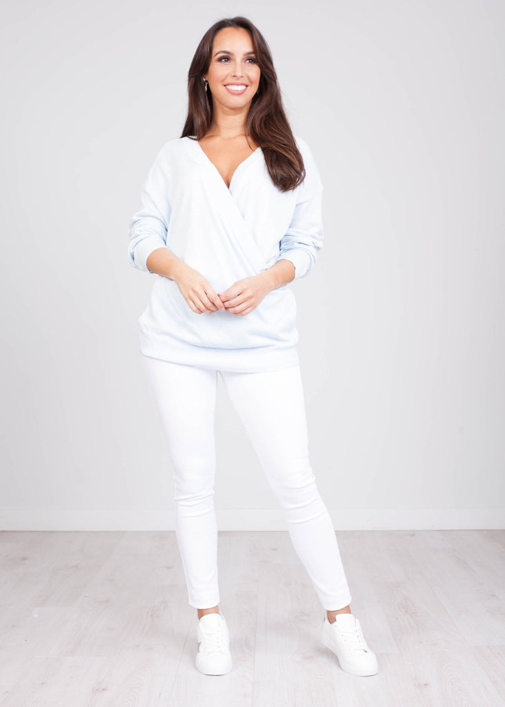 Priya Blue Wrap Knit - The Walk in Wardrobe