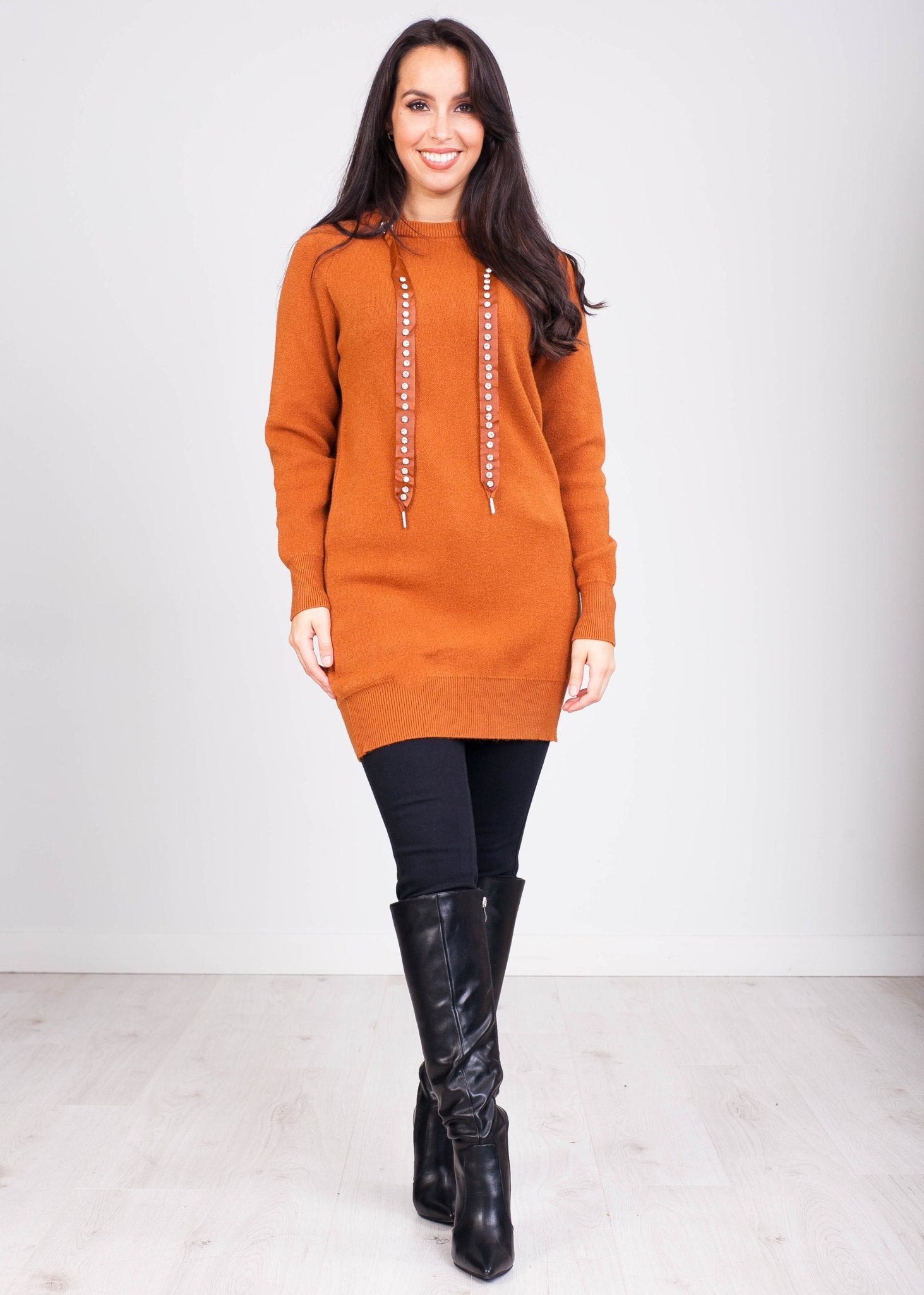 Priya Brown Hoodie Dress with Jewels - The Walk in Wardrobe