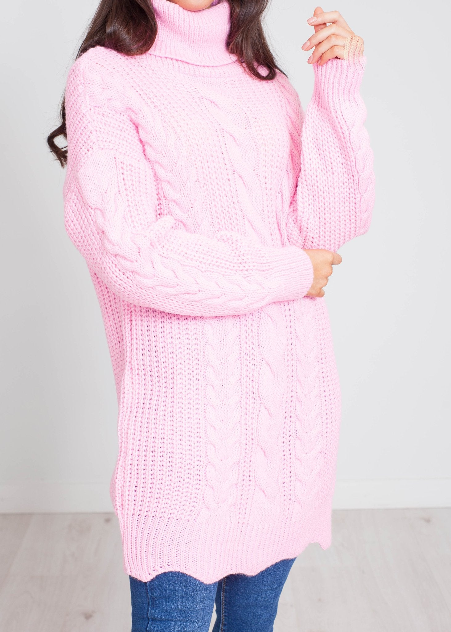 Priya Cable Knit Jumper Dress In Pink - The Walk in Wardrobe