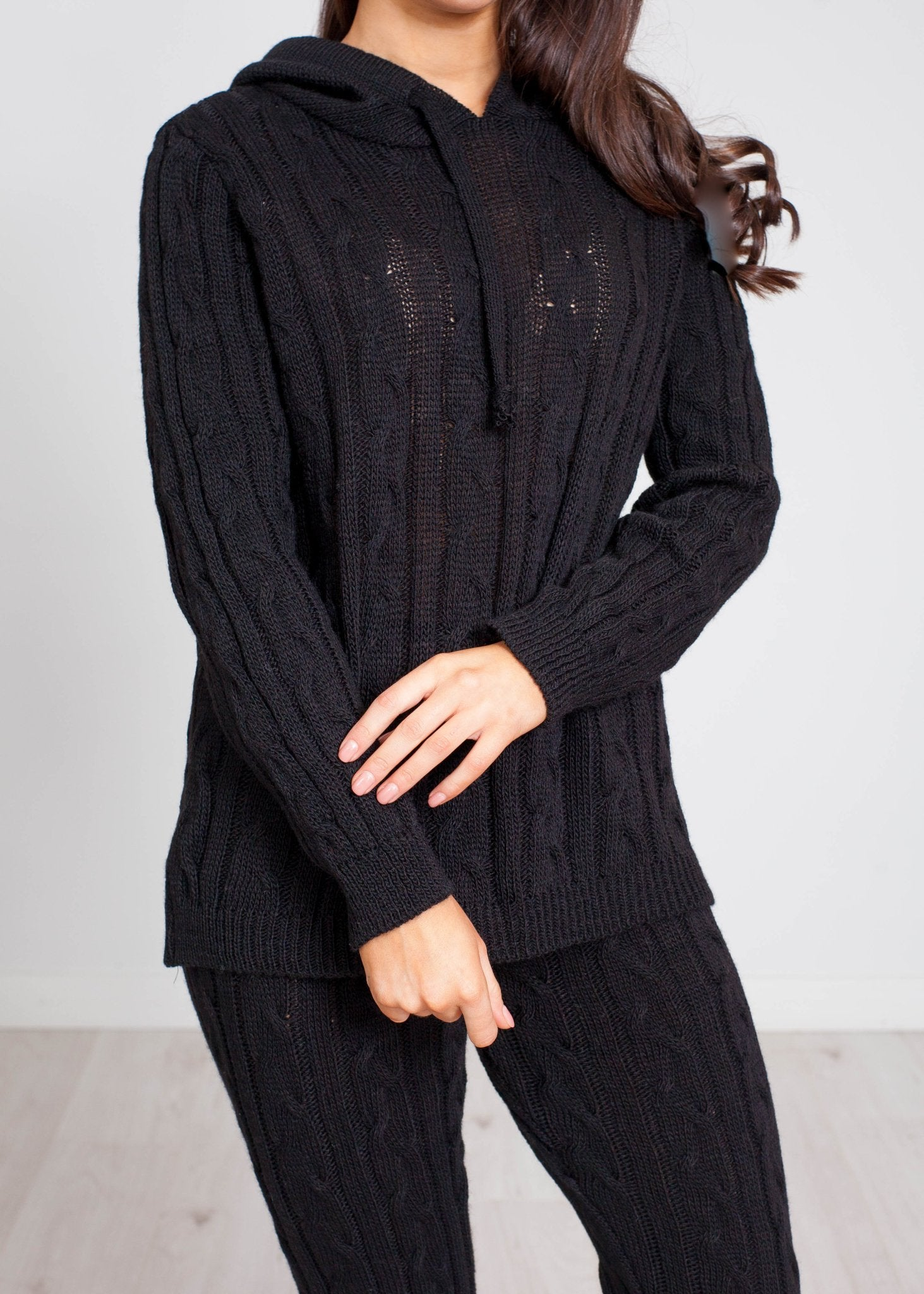 Priya Cable Knit Lounge Set In Black - The Walk in Wardrobe
