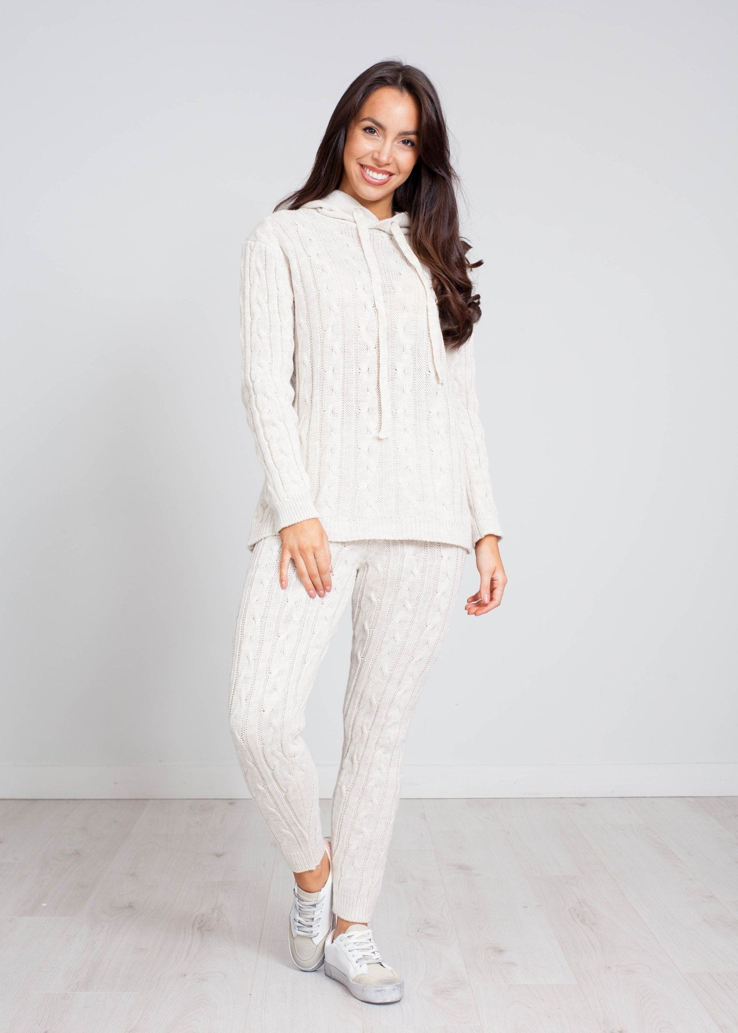 Priya Cable Knit Lounge Set In Stone - The Walk in Wardrobe