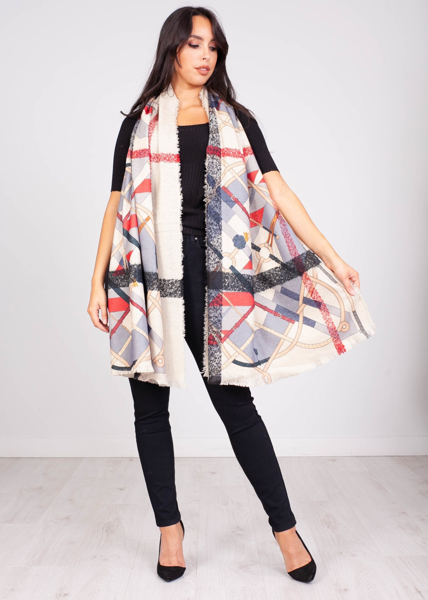Priya Check & Buckle Scarf - The Walk in Wardrobe