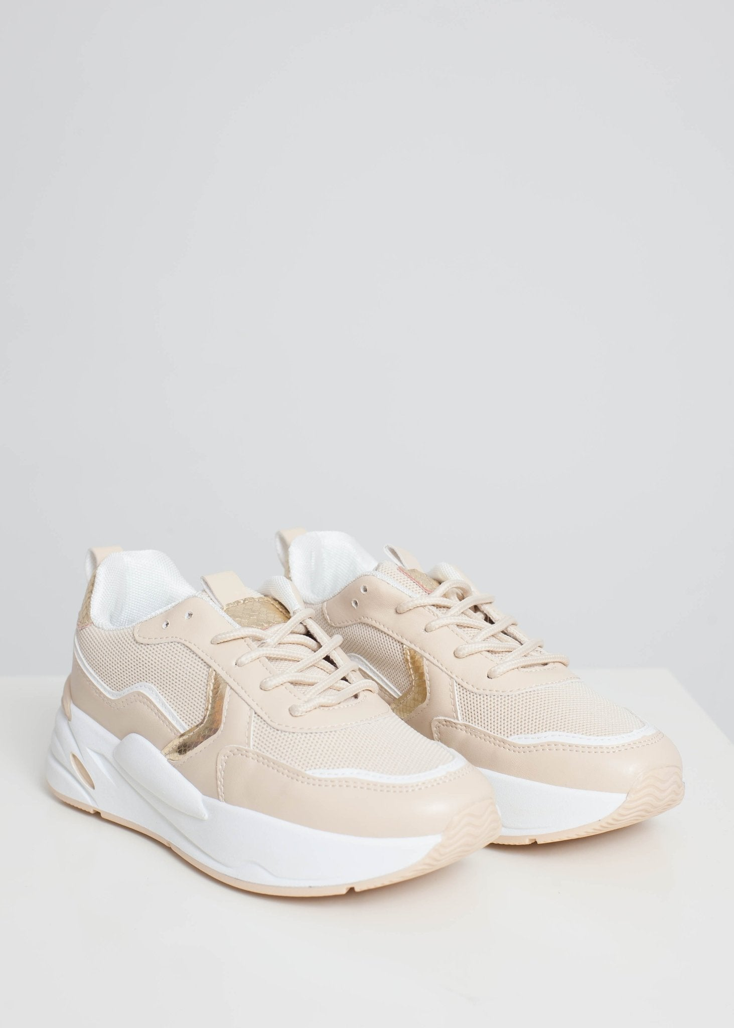 Priya Chunky Trainer In Neutral - The Walk in Wardrobe