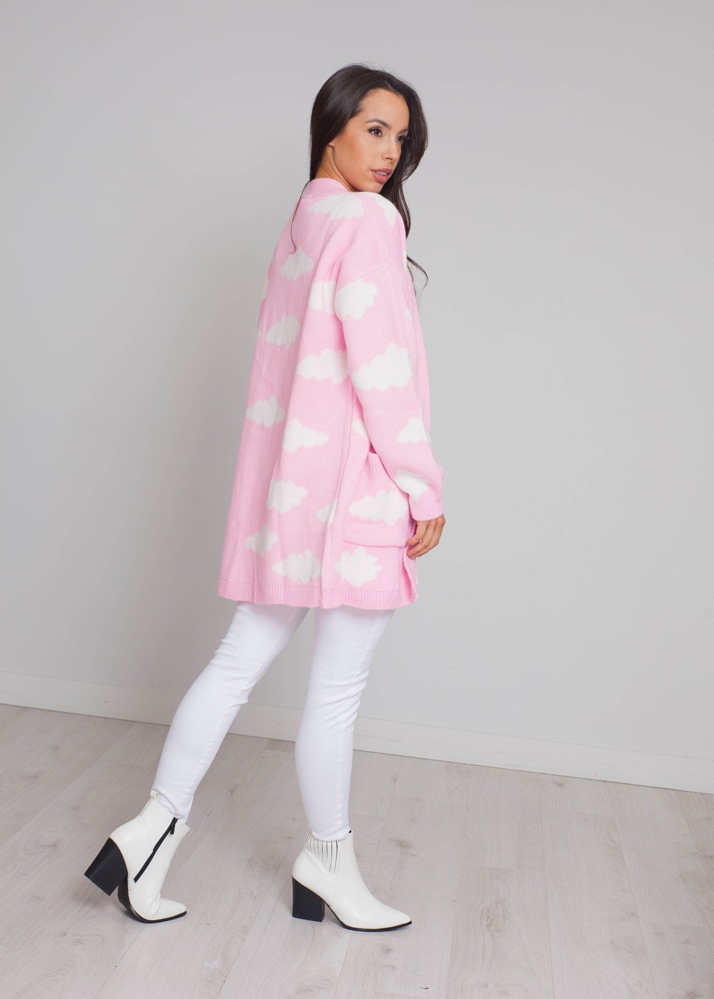 Priya Cloud Print Cardigan In Pink - The Walk in Wardrobe