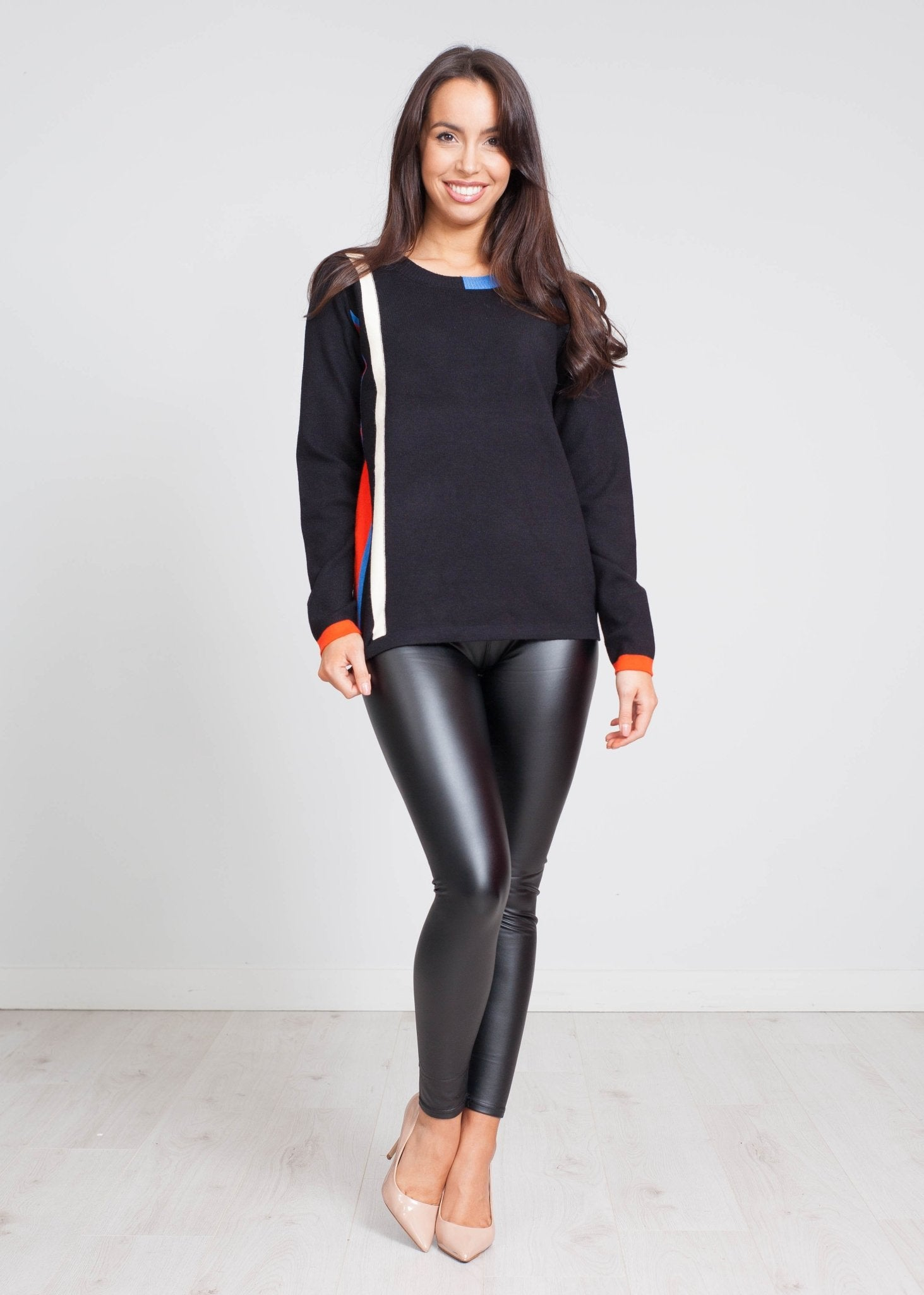 Priya Colour Stripe Knit In Black - The Walk in Wardrobe