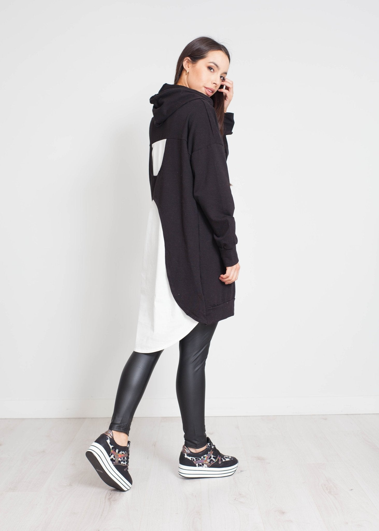 Priya Contrast Hoodie Dress In Black - The Walk in Wardrobe