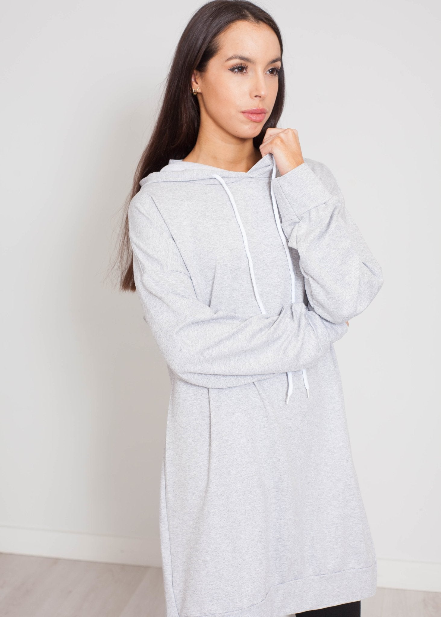 Priya Contrast Hoodie Dress In Grey - The Walk in Wardrobe