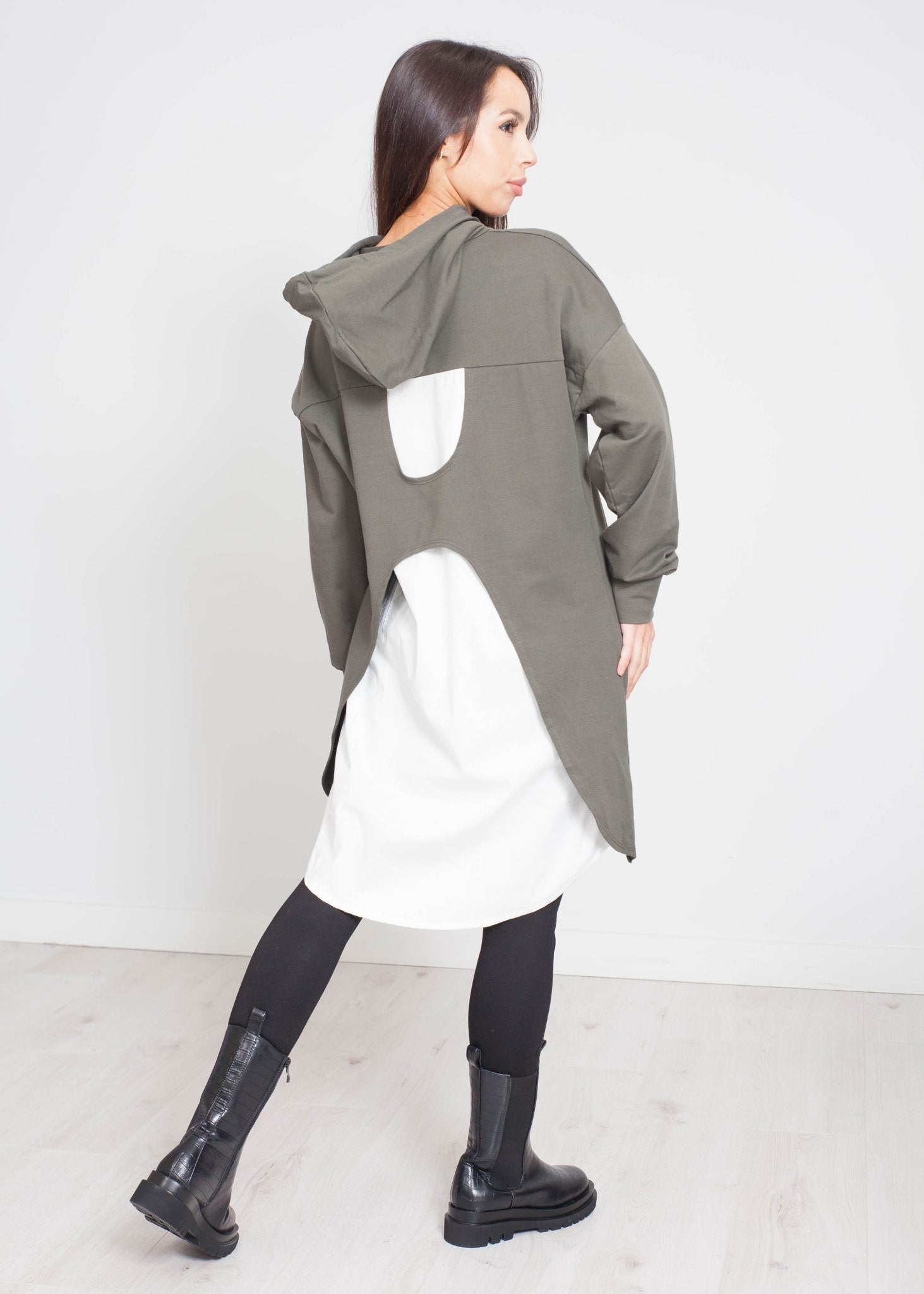 Priya Contrast Hoodie Dress In Khaki - The Walk in Wardrobe