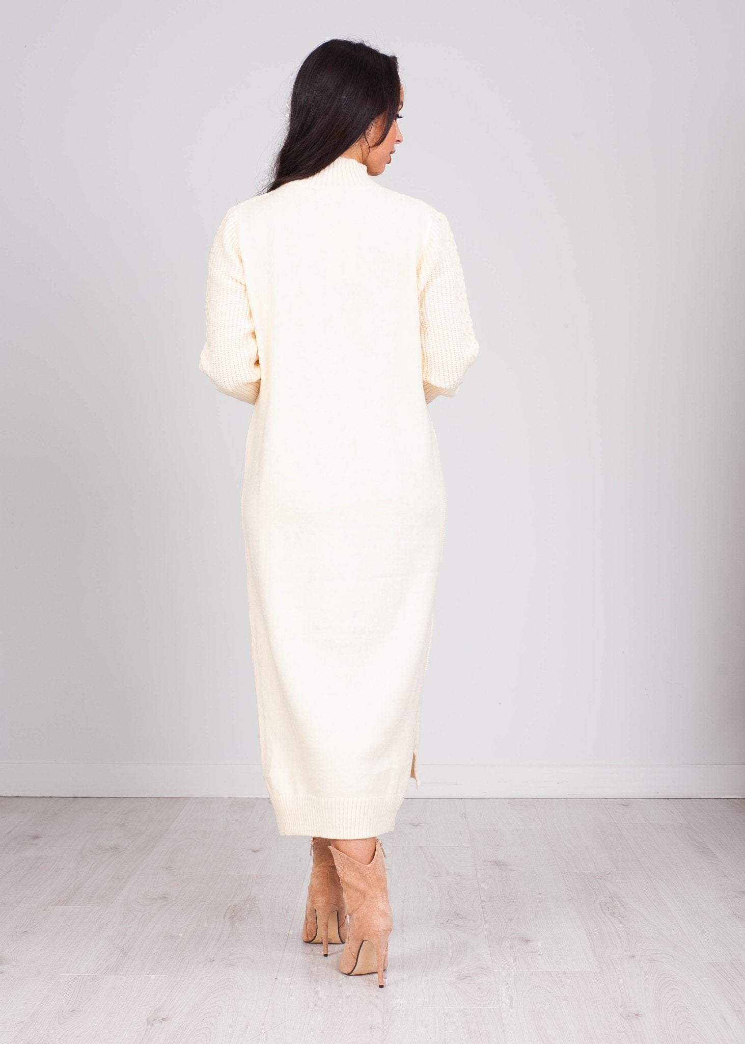 Priya Cream Chunky Knit Dress - The Walk in Wardrobe