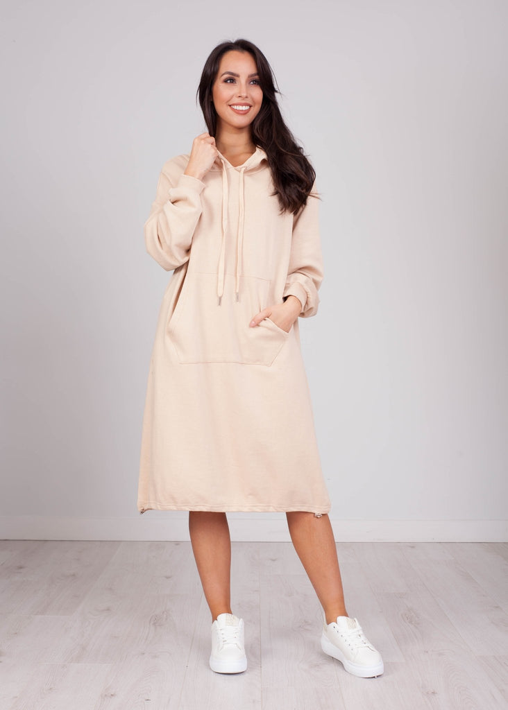 Priya Cream Hoodie Dress - The Walk in Wardrobe
