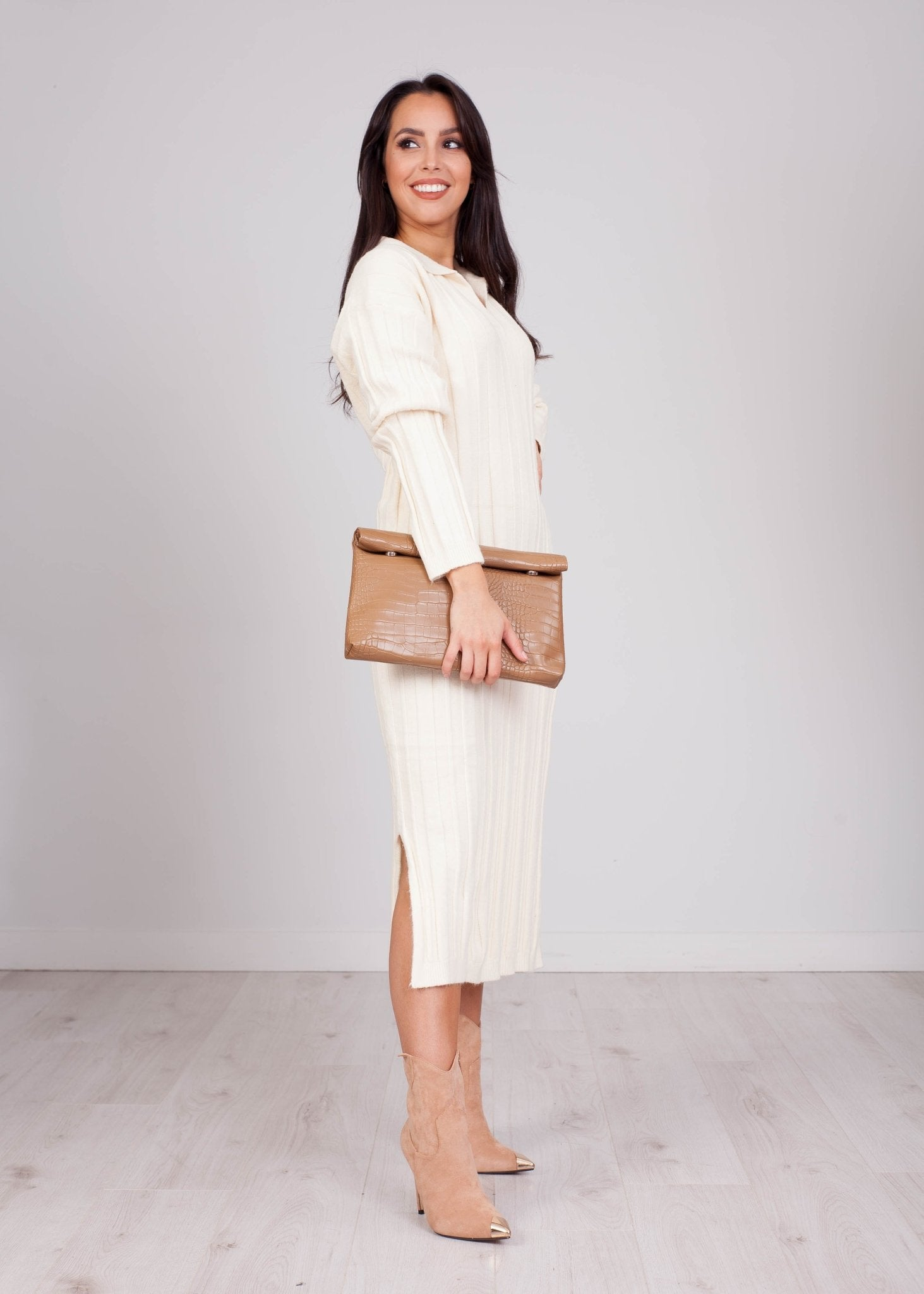Priya Cream Longline Knit Shirt Dress - The Walk in Wardrobe