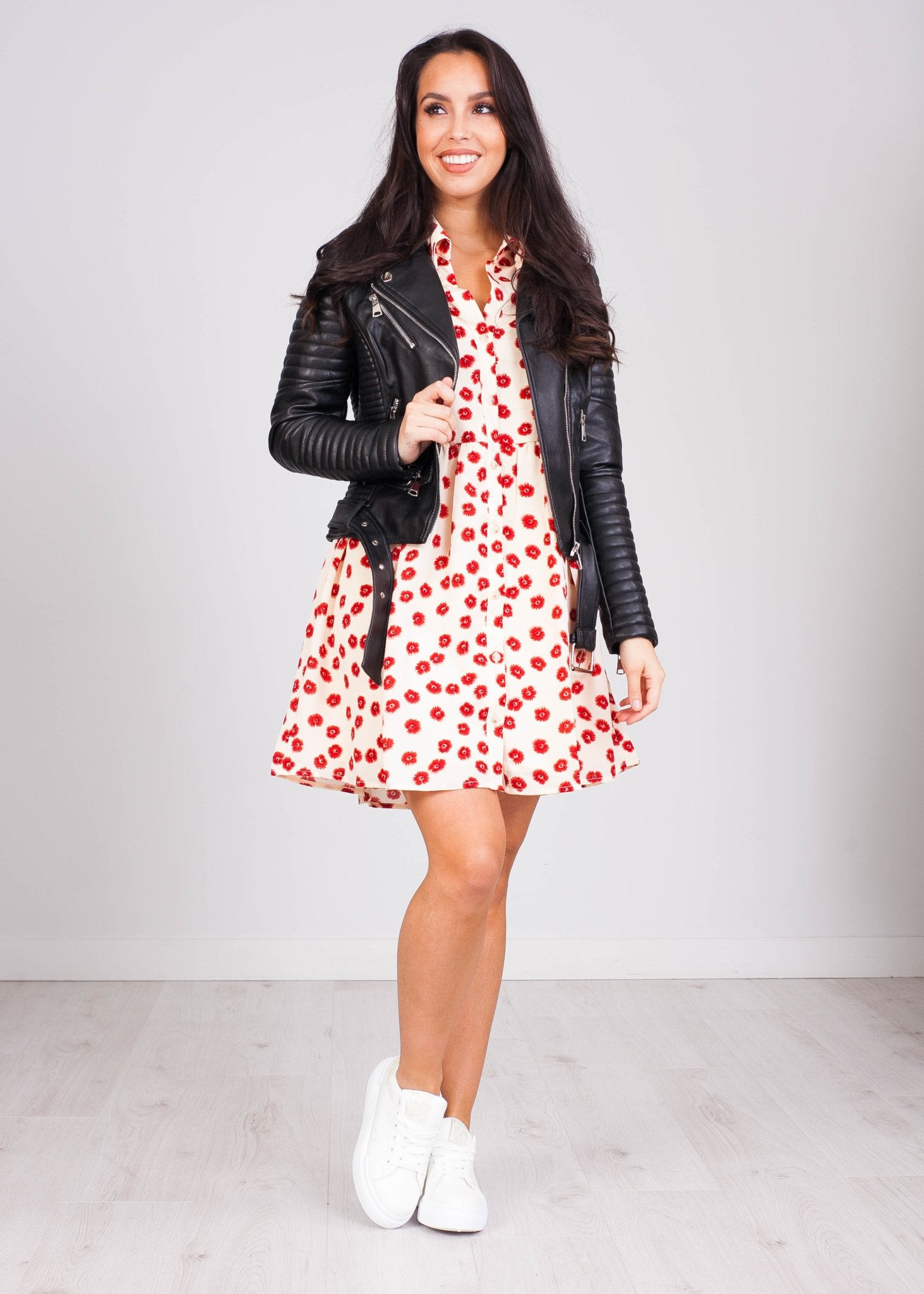 Priya Cream & Red Poppy Mini Dress - The Walk in Wardrobe