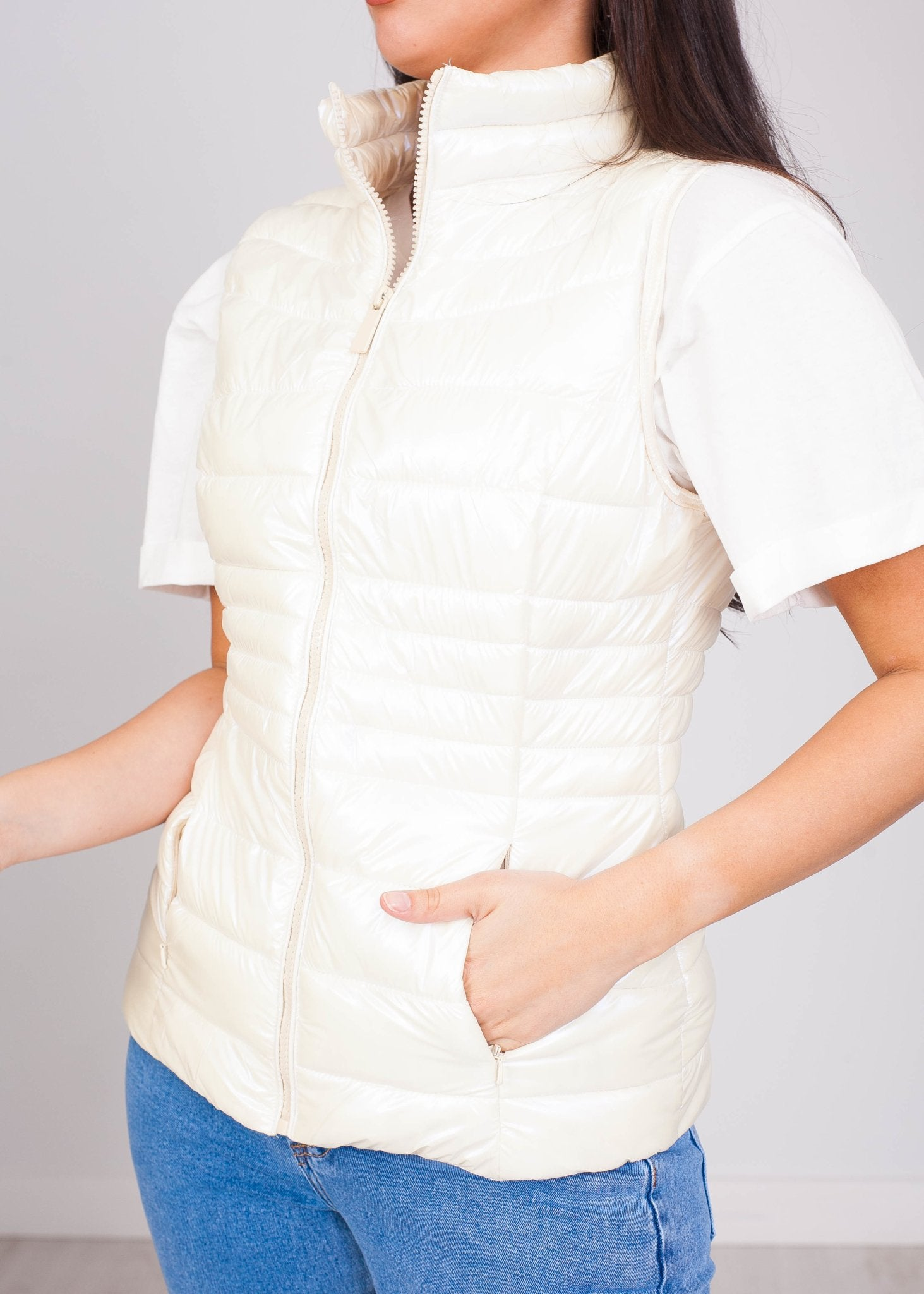 Priya Cream Shimmer Gilet - The Walk in Wardrobe