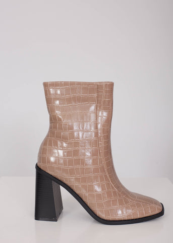 Priya Croc Boots in Tan - The Walk in Wardrobe