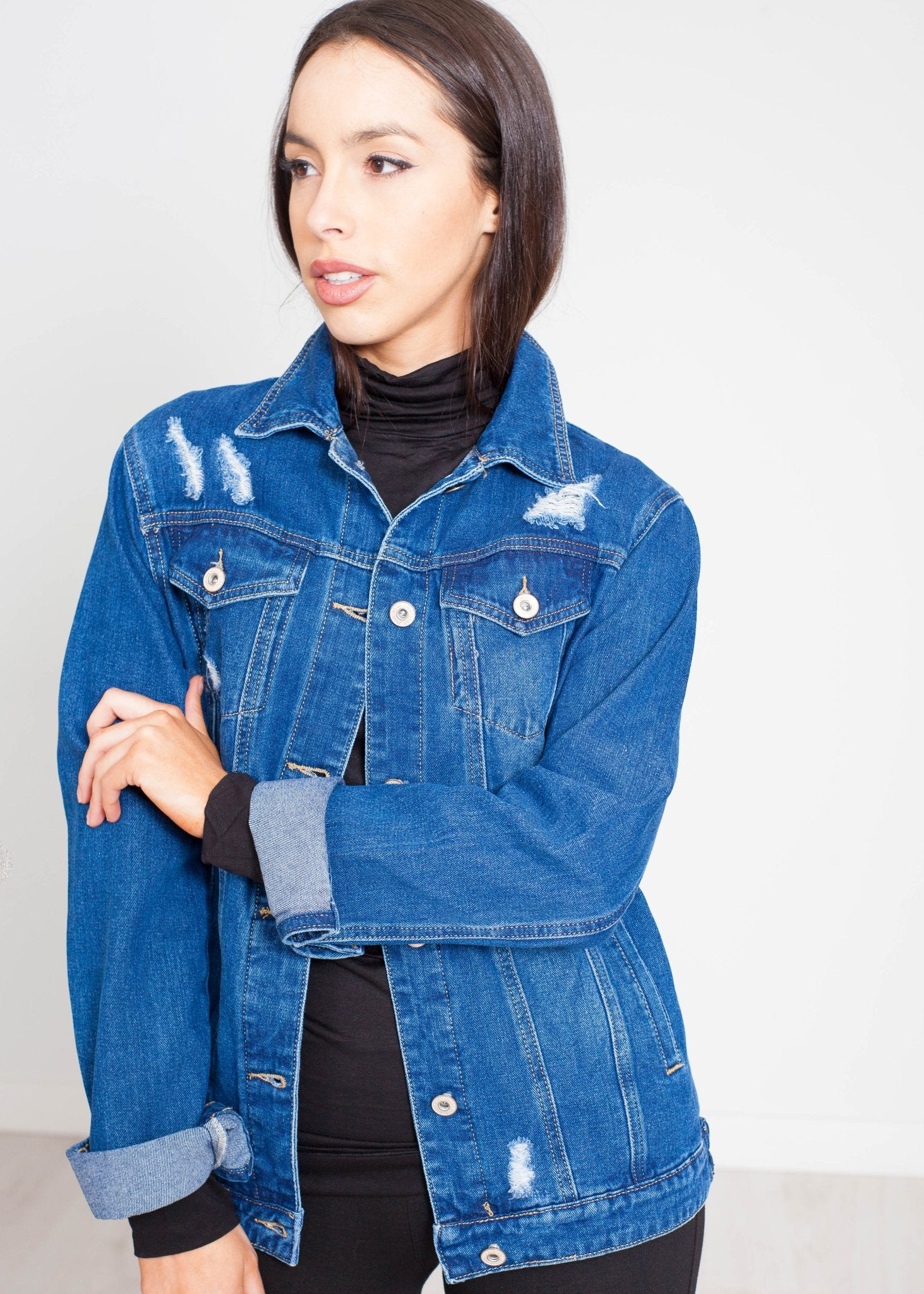 Priya Distressed Jacket In Denim - The Walk in Wardrobe
