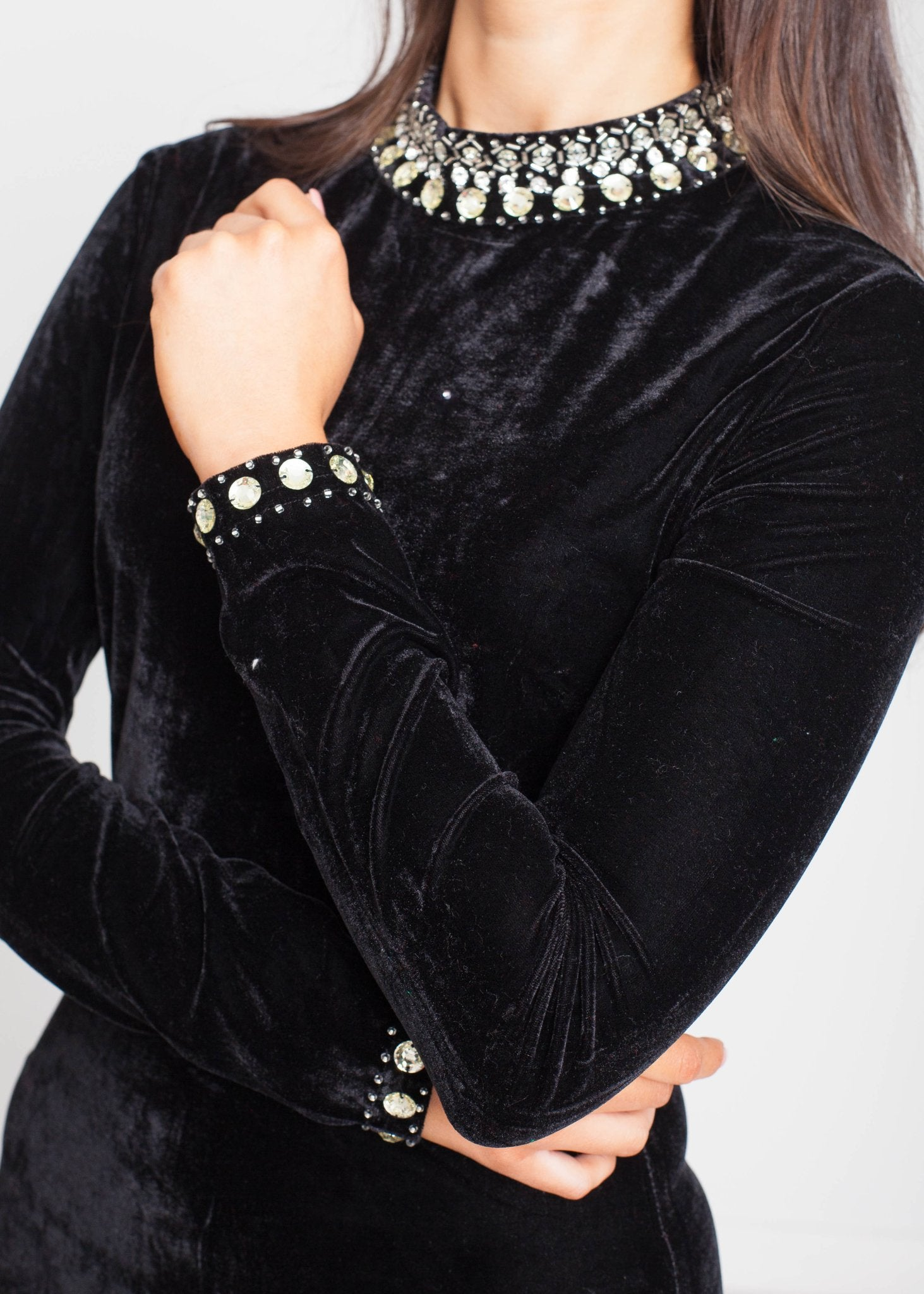 Priya Embellished Dress In Black Velvet - The Walk in Wardrobe
