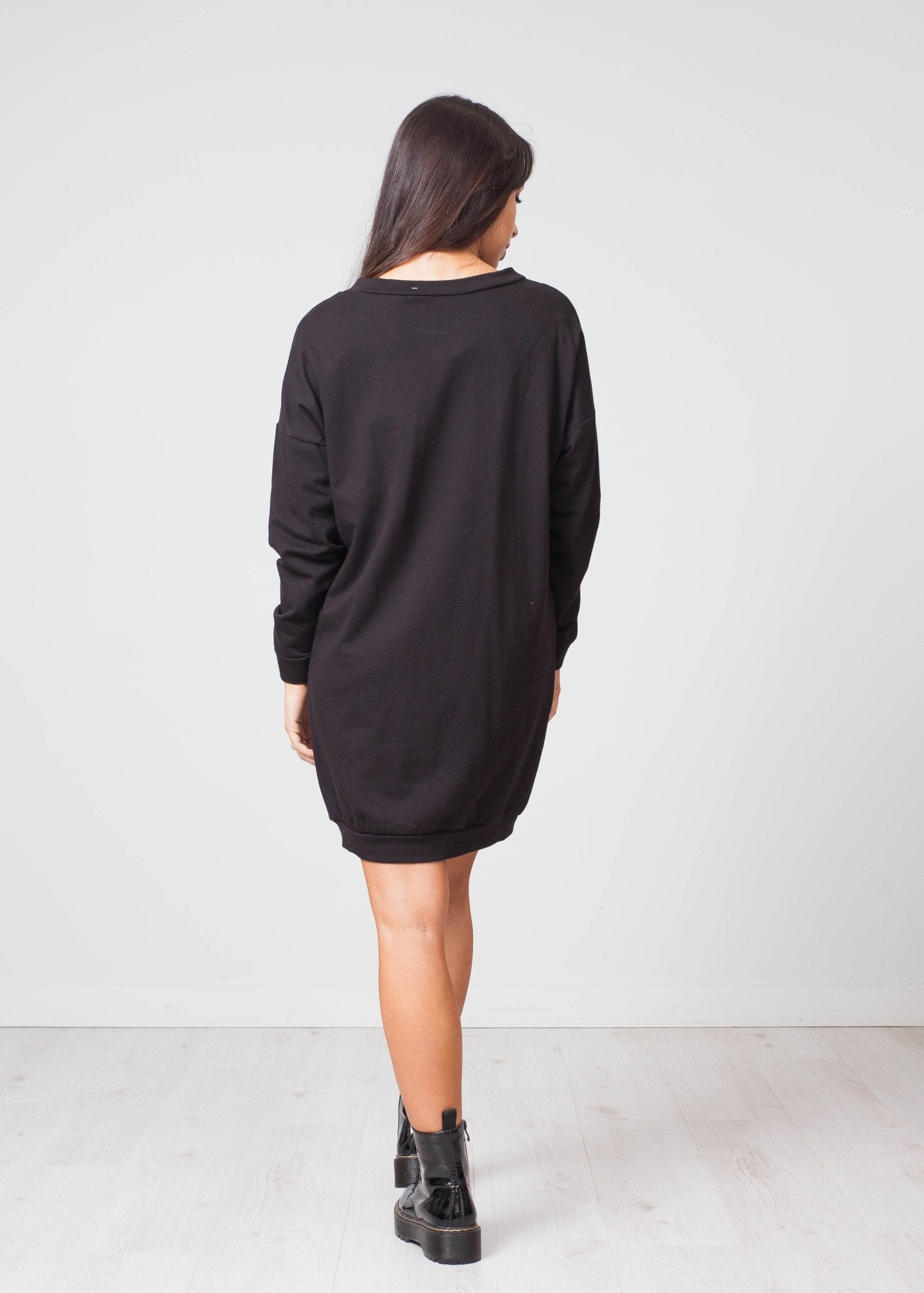 Priya Embellished Jumper Dress In Black - The Walk in Wardrobe