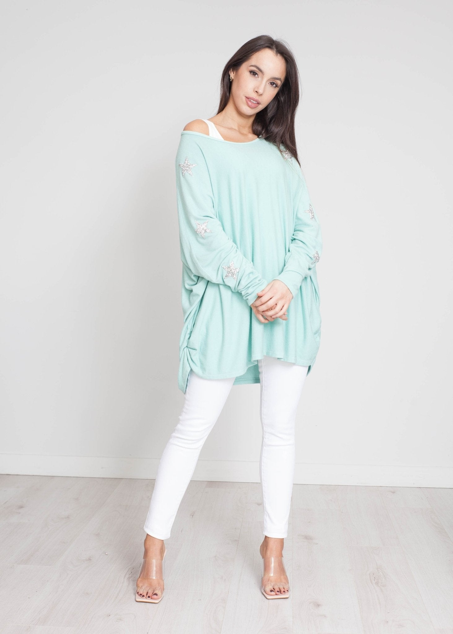 Priya Embellished Knit In Mint - The Walk in Wardrobe