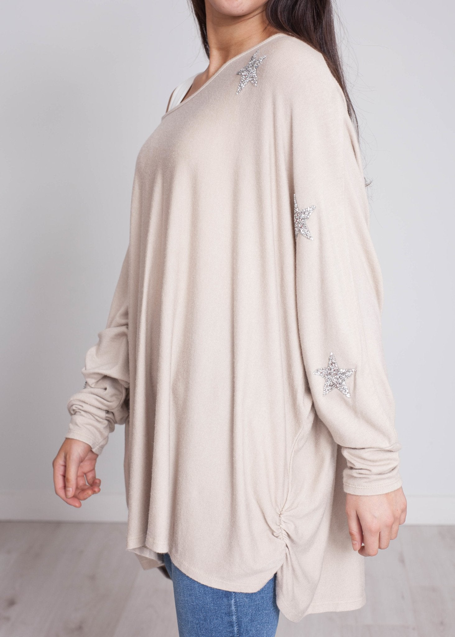 Priya Embellished Knit In Stone - The Walk in Wardrobe