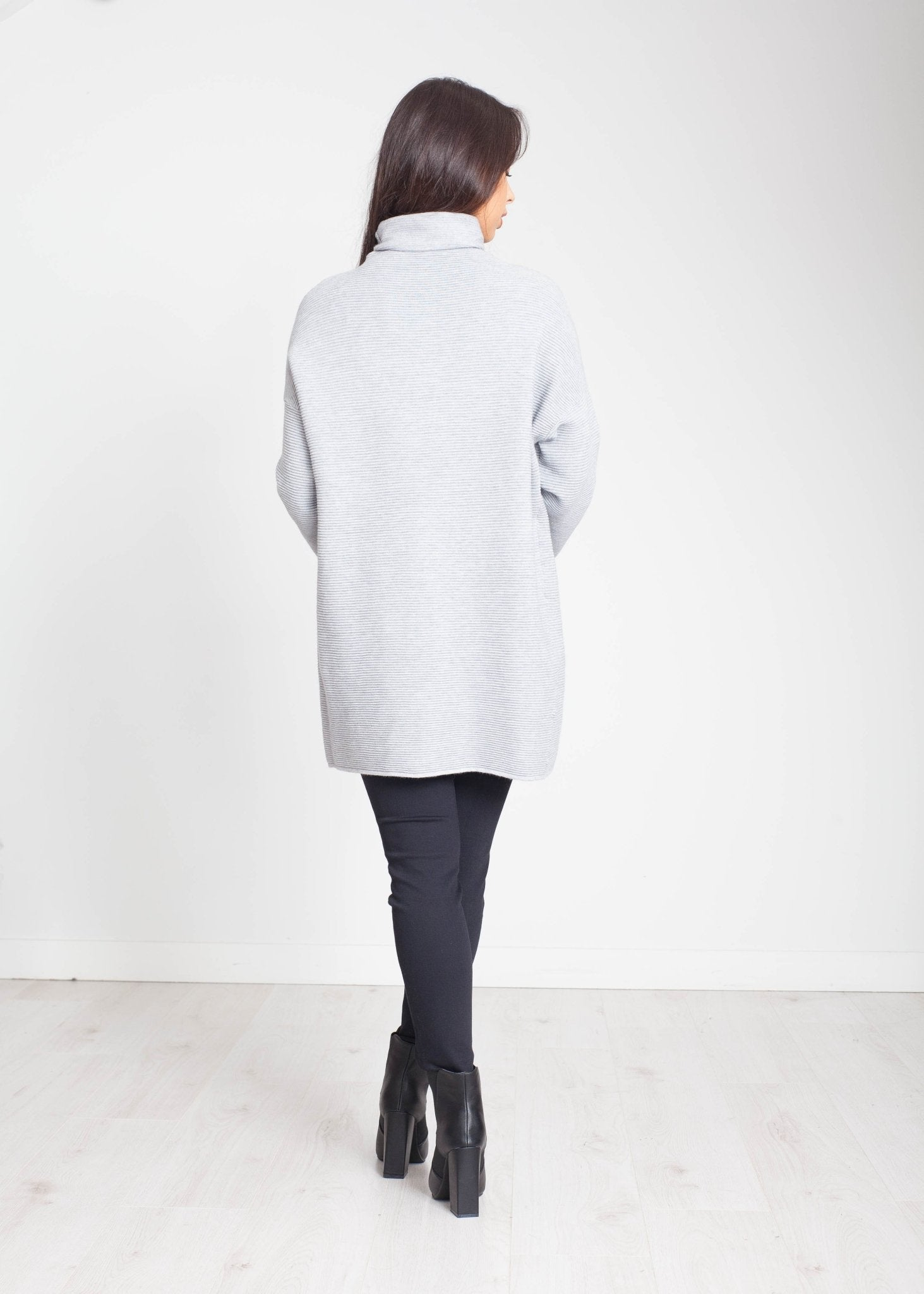 Priya Embellished Polo Neck In Grey - The Walk in Wardrobe