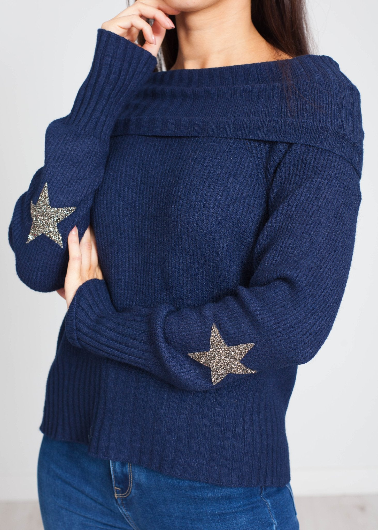 Priya Embellished Sleeve Polo In Navy - The Walk in Wardrobe