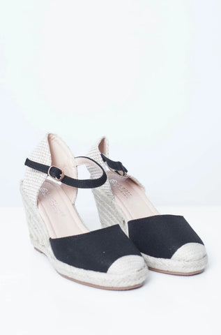 Priya Espadrille Wedge In Black - The Walk in Wardrobe