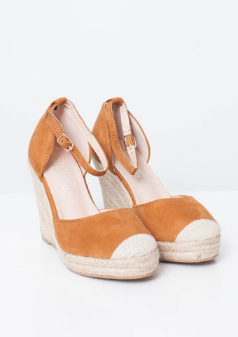 Priya Espadrille Wedge In Tan | Walk in Wardrobe